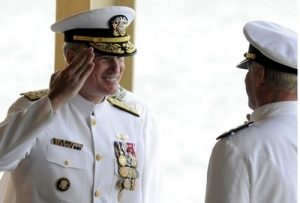 Admiral Patrick Walsh salutes Admiral Robert Willard as Walsh takes command of the Pacific Fleet in a ceremony September 2009 at Pearl Harbor, Fleet headquarters. Photo by Jeff Widener, The Honolulu Advertiser.