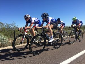 The cycling team pre-riding the TT course together